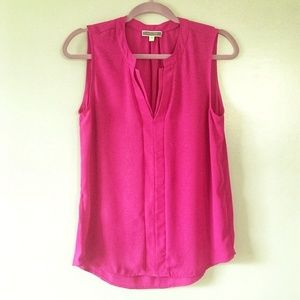 PLEIONE Sleeveless Pink V-Neck Blouse Size:L